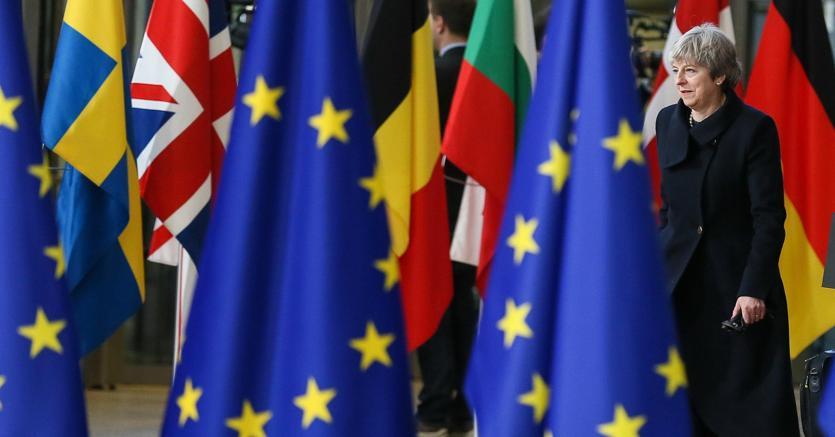 Theresa May al vertice di Bruxelles dello scorso dicembre (Epa)