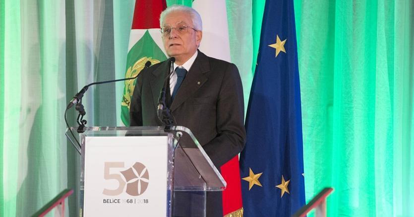 Il  Presidente della Repubblica, Sergio Mattarella, alla cerimonia inaugurale delle celebrazioni del 50° anniversario del terremoto della Valle del Belìce