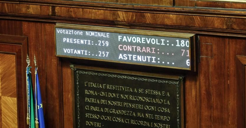 Tabellone elettronico del Senato con risultato del voto sul biotestamento
