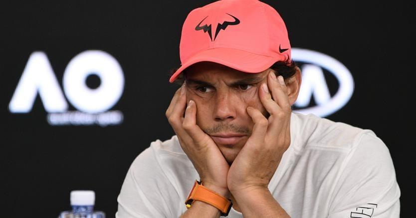Rafa Nadal dopo la sconfitta contro Cilic (Afp)