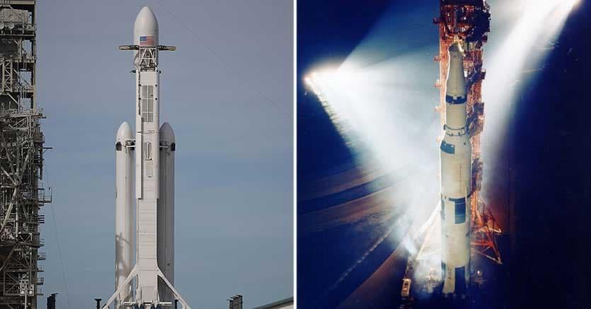 Falcon e Saturn V a confronto