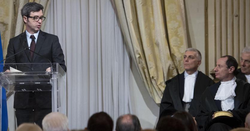 Il ministro Orlando all'inaugurazione dell'anno giudiziario del Consiglio nazionale forense a Roma (Ansa)