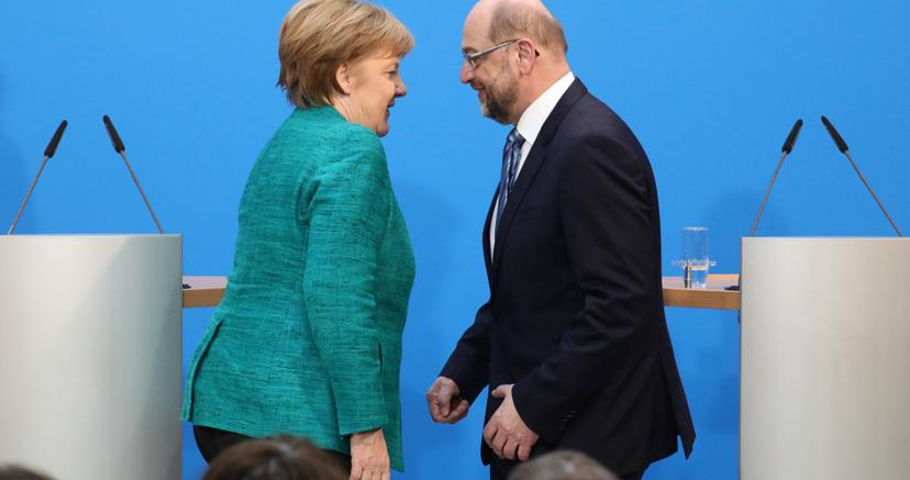 Angela Merkel e Martin Schulz (Afp)