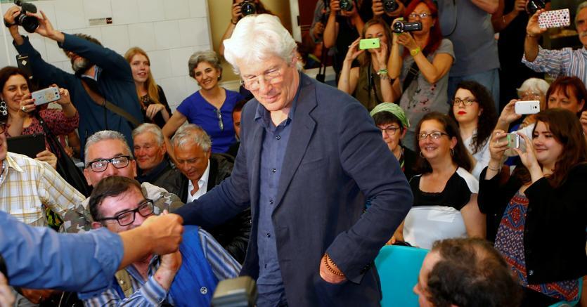 L'attore Richard Gere a Sant'Egidio