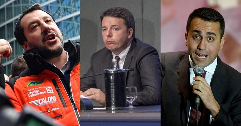 Da sinistra Matteo Salvini, Matteo Renzi e LuigiDi Maio