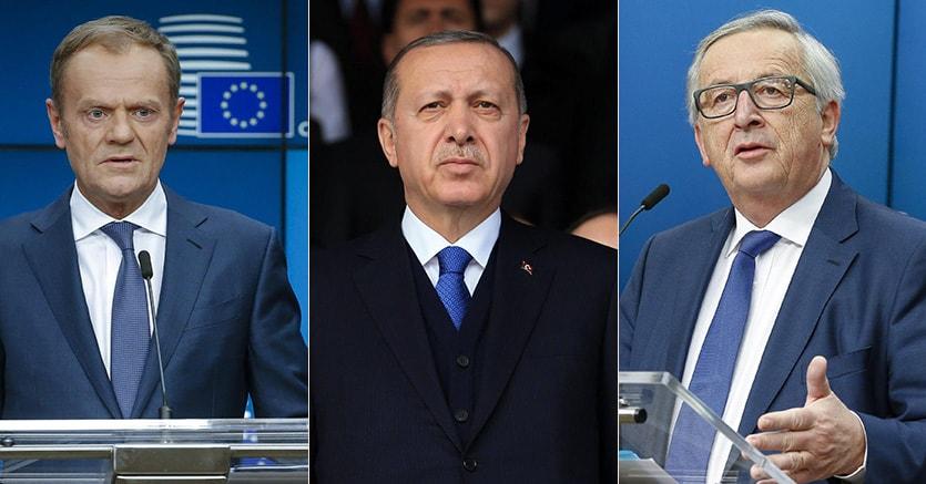 Nella combo da sinistra, il presidente del Consiglio europeo Donald Tusk, il presidente turco Tayyip Erdogan e il presidente della Commissione europea, Jean-Claude Juncker