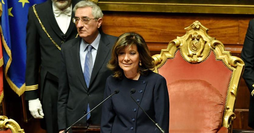 La forzista Maria Elisabetta Alberti Casellati è stata eletta presidente del Senato anche con i voti di M5S (foto Afp)