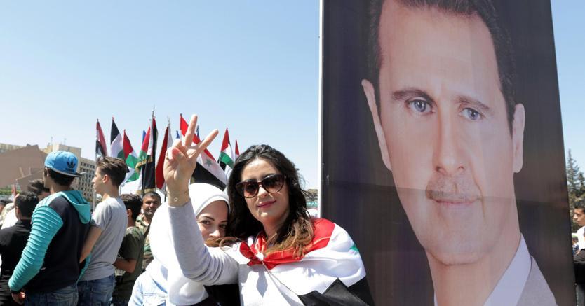 Manifestazioni filogovernative a Damasco
