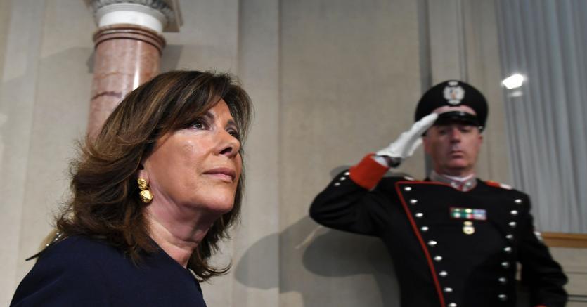 La presidente del Senato Maria Elisabetta Alberti Casellati dopo aver ricevuto il mandato esplorativo dal capo dello Stato Sergio Mattarella (foto Afp)