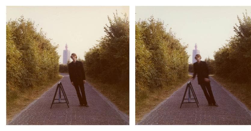 """Bas Jan Ader, """"Studies for Broken Fall (Geometric)"""" (1971), set of two color vintage prints, 3 1/2 x 3 1/2 inches (each image) (© The Estate of Bas Jan Ader / Mary Sue Ader Andersen, 2016 / The Artist Rights Society (ARS), New York, courtesy Meliksetian   Briggs, Los Angeles and Metro Pictures, New York)"""