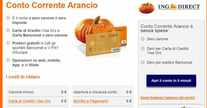Guadagnare coi conti online / Ing Conto Corrente Arancio