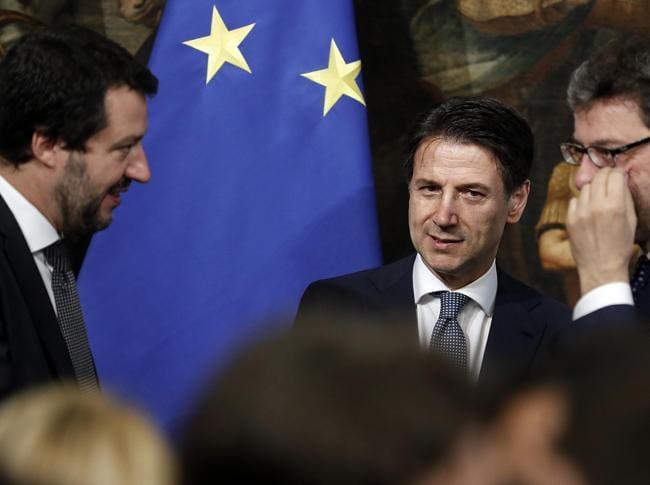 Matteo Salvini, Giuseppe Conte e Giancarlo Giorgetti (ANSA)