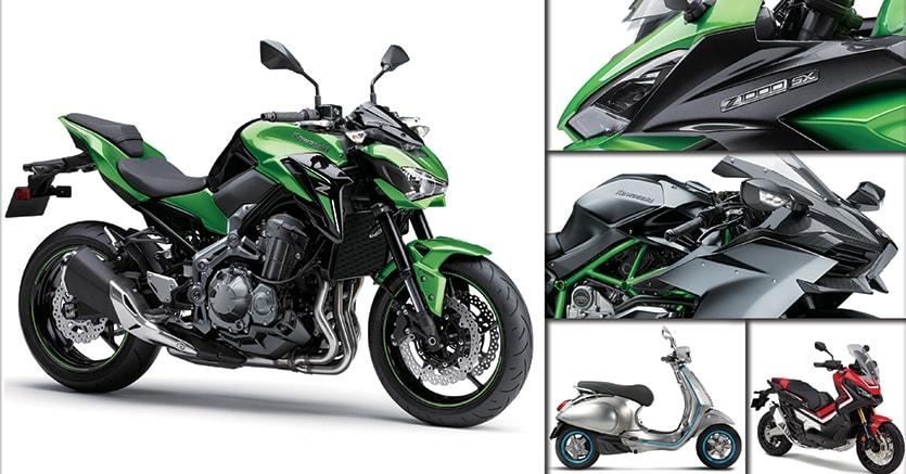 Negli ultimi mesi i costruttori hanno moltiplicato l'offerta in ogni segmento. Nella foto grande, la nuova Kawasaki Z900, accompagnata da Z1000 e H2 (in alto a destra). In basso a destra, Vespa Elettrica e Honda X-Adv