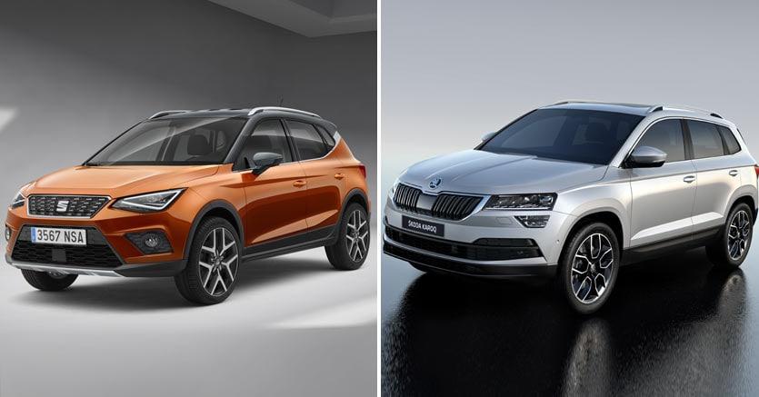 Il gruppo Volkswagen rilancia la sfida  dei suv di taglia urbana  e media con la Arona e con la  Škoda Karoq