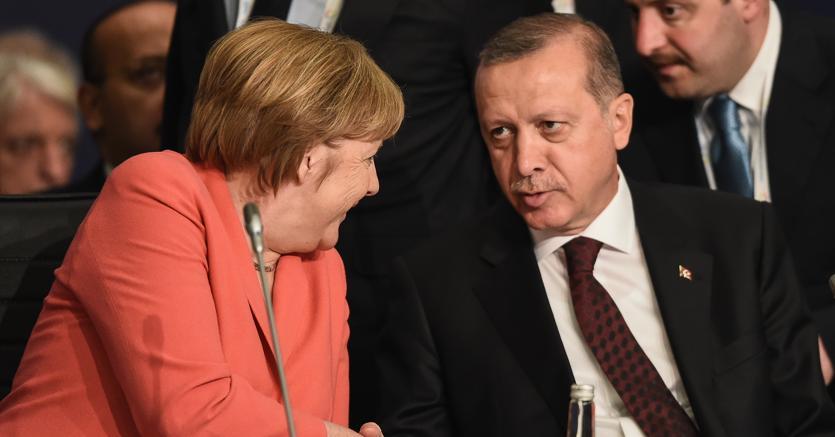 Angela Merkel con il presidente turco Tayyep Erdogan
