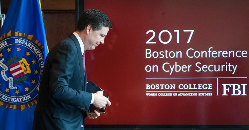 James Comey, direttore dell'Fbi, a una Conferenza sulla sicurezza informatica mercoledì a Boston