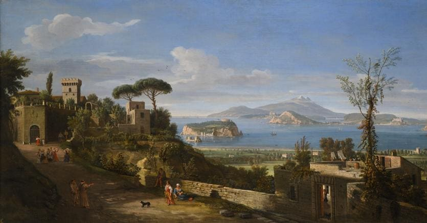 "Gaspar Van Wittel, Called Vanvitelli ""Amersfoort"" 1652/1653 - 1736 Rome. A View of the Bay of Pozzuoli, near Naples, taken from the east, looking towards the port of Baia, with the Islands of Nisida Procida and Ischia"