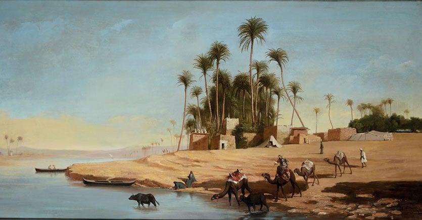 Cambi un olio su tela di Théodore Frère del XIX secolo, Beduini al fiume, 217 x 103 cm, venduto per 37.500 euro
