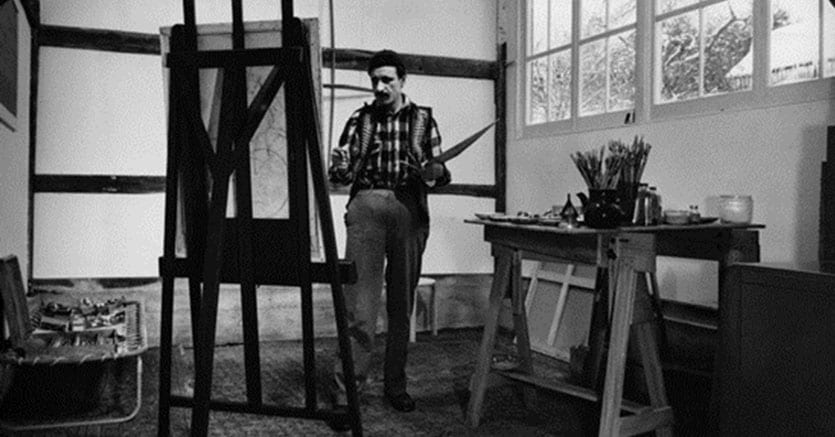 Image: Arshile Gorky in his atelier, Sherman CT, 1948. Photo: Ben Schnall. Courtesy Hauser & Wirth