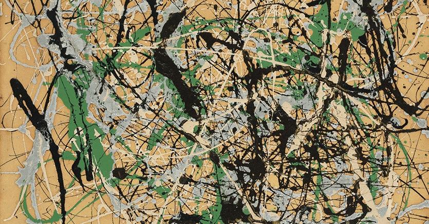 Jackson Pollock - Number 17, 1949 enamel and aluminum paint on paper mounted on fiberboard, 56,5 x 72 cm.Estimate: 20-30 million $Price realised: 22.930.000 $