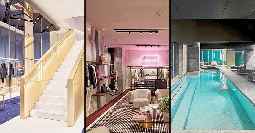 Da sinistra, la boutique La Perla aperta in via Montenapoleone 14, lo store del marchio Coach al  19 della stessa via e la piscina del Ceresio 7 Gim&Spa