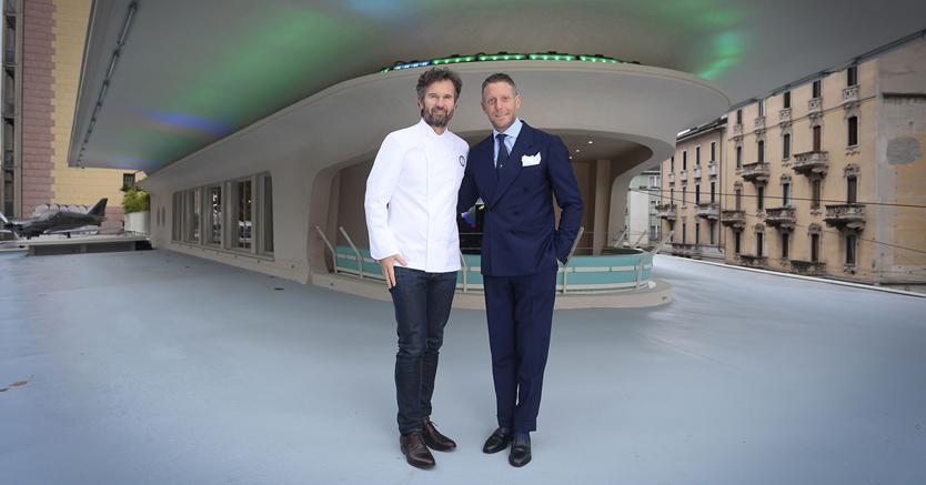 Lapo Elkann e Carlo Cracco inaugurano il locale Garage Italia Customs