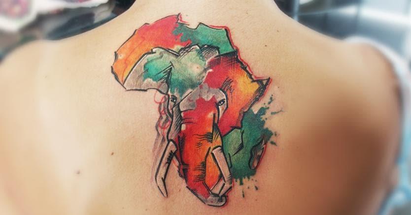 Un elefante a forma di Africa by Alle Tattoo