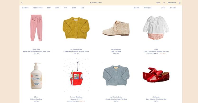 L'homepage di Maisonette, lanciata a marzo a New York
