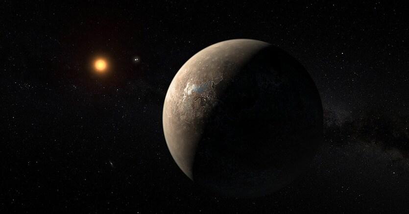 Il pianeta Proxima b e la sua stella madre, Proxima Centauri (illustrazione)