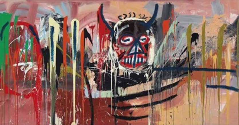 Jean-Michel Basquiat (1960-1988) - Untitled - signed and dated 'Jean-Michel Basquiat Modena 82' (on the reverse) - acrylic on canvas - 238,7 x 500,4 cm - Painted in 1982. Christie's New York: Tuesday, May 10, 2016 - Post-War and Contemporary Art Evening Sale - Estimate: No Estimate Received - Sold For 57.285.000 $ Premium