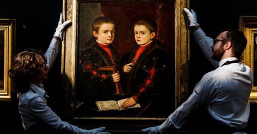 Ritratto doppio di due fanciulli della nobiltà del Cinquecento dipinto da Tiziano e dal suo studio aggiudicato per 2,1 milioni di sterline (stima 1-1,5 milioni di £)