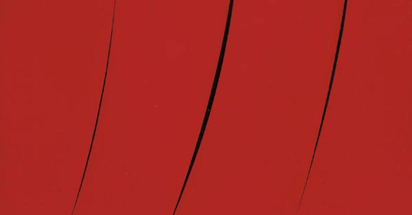 Lucio Fontana, Concetto spaziale. Attese, 1961, idropittura su tela, rosso, cm 92x73, stima 1,8-2,4 milioni di euro, venduto per 2.410.250 euro, Courtesy Farsettiarte