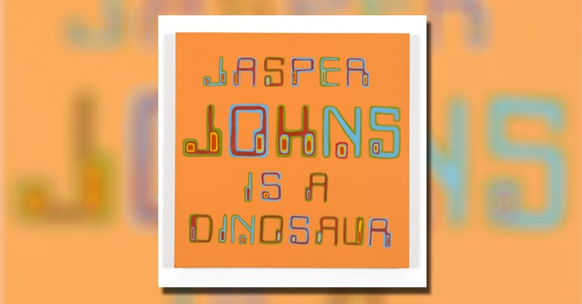 Bob & Roberta Smith, Jasper Johns is a Dinosaur, (2002)Stima $1.900-2.500 (olio su tela 51 x 50.5 cm)