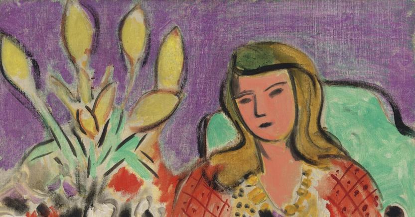 Henri Matisse (1869-1954), Jeune fille aux anémones sur fond violet. Painted in 1944.