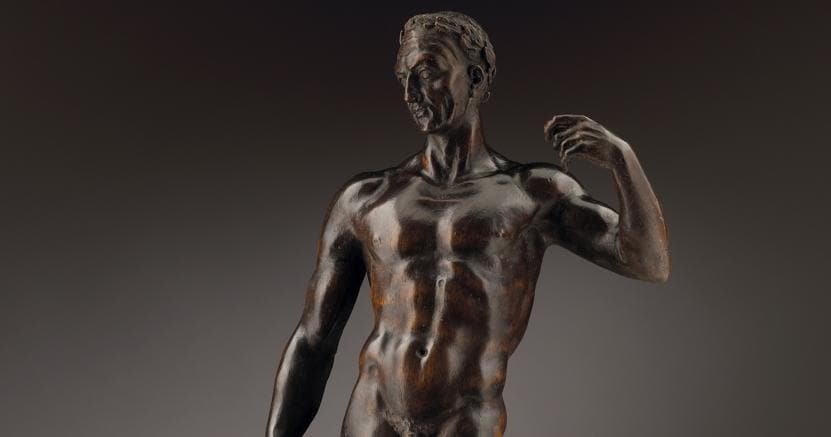 Giambologna (1529-1608); Julius Caesar, circa 1551. Signed on underside; Limewood, with Walnut Socle; 46cm (18 1/8 in), 51.2cm (20 ¼ in) – overall including socle; Courtesy Tomasso Brothers Gallery