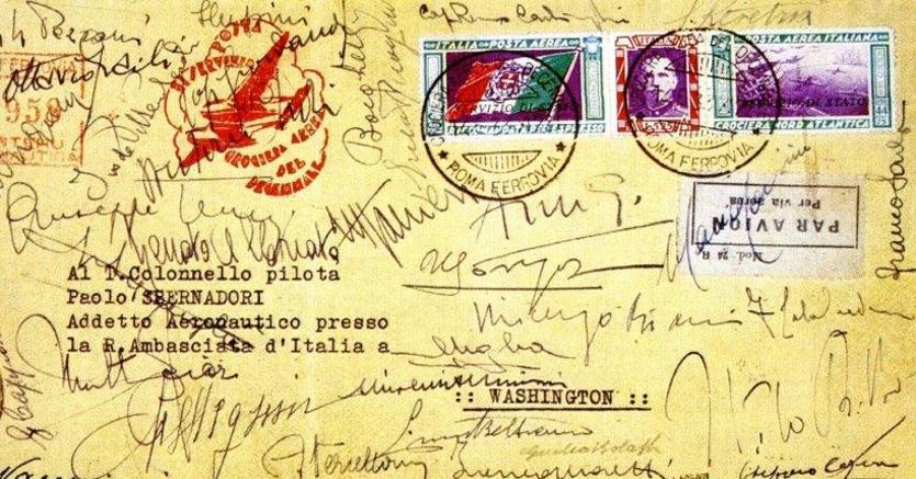 Italia 1933 Crociera Nord Atlantica - Aerogramma con trittico Servizio di Stato con firme autografe di Italo Balbo e di tutti i piloti indirizzato «Al Colonnello Pilota Paolo Sbernadori Addetto Aeronautico presso la R. Ambasciata d'Italia a Washington»
