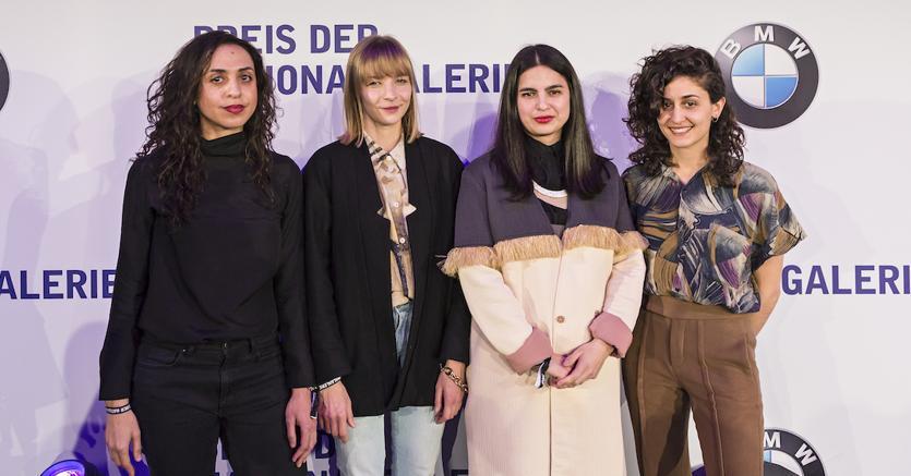 Le quattro artiste nominate al Preis der Nationalgalerie 2017. Da sinistra a destra: Iman Issa, Agnieszka Polska, Sol Calero e Jumana Manna, Foto: David von Becker