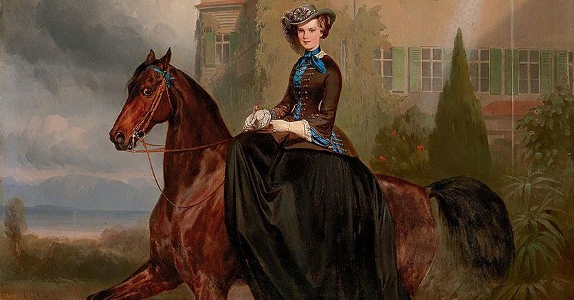 Grande olio su tela, 128x108 cm, di Carlo Theodor von Piloty e Franz Adam del 1853, Elisabetta d'Austria, la futura sposa a cavallo di fronte al Castello Possenhofen, stima 300-400mila euro realizzo 1.540.000 euro