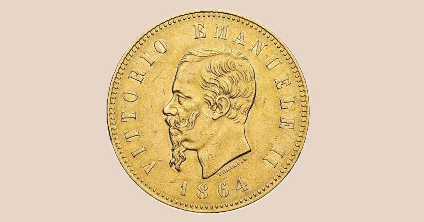 Il rarissimo 50lire in oro del 1864 di Vittorio Emanuele II con l'effigie del sovrano e al rovescio lo stemma di Casa Savoia, coniato in soli 103 esemplari, base 75mila euro realizzo 146.400 euro
