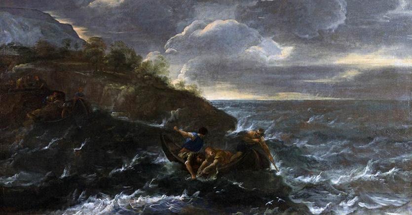 Salvator Rosa. Pesca miracolosa. Olio su tela, 75,5x131,5 cm. (Lotto 229 asta 34 – Arte antica, Roma - € 15.000)