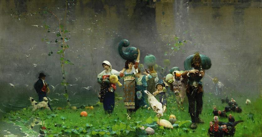Francesco Paolo Michetti, La raccolta delle zucche, olio su tela, cm 78 x 97,7, 148.400 euro, Courtesy Farsettiarte
