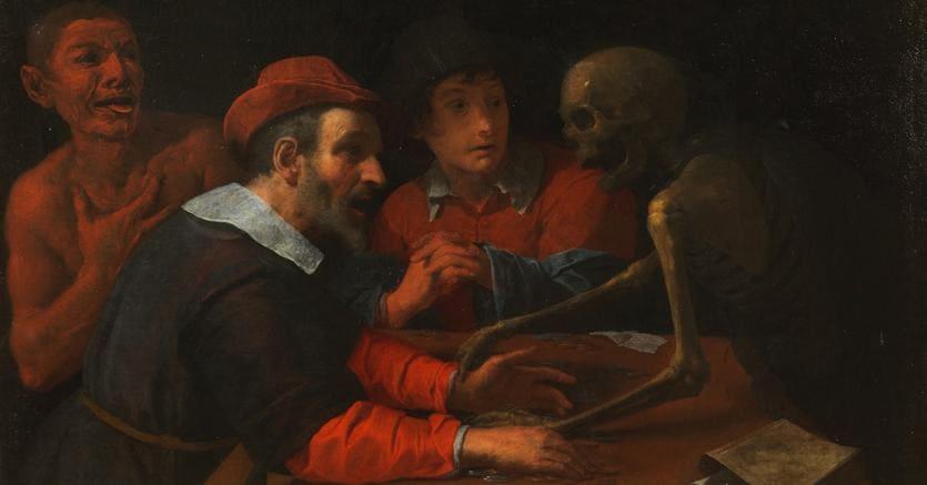 Giovanni Martinelli. LA MORTE AL TAVOLO DELL'AVARO. Olio su tela, cm 102 x 126 lotto 26 - aggiudicato a 186.000 euro