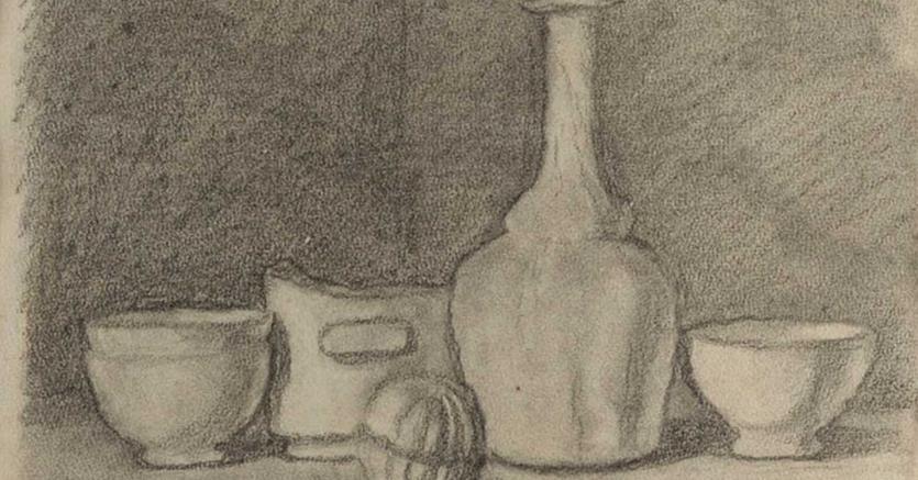 Giorgio Morandi, Natura morta, 1945, matita su carta, 23 x 31 cm, aggiudicazione 89.400 euro, Courtesy Finarte