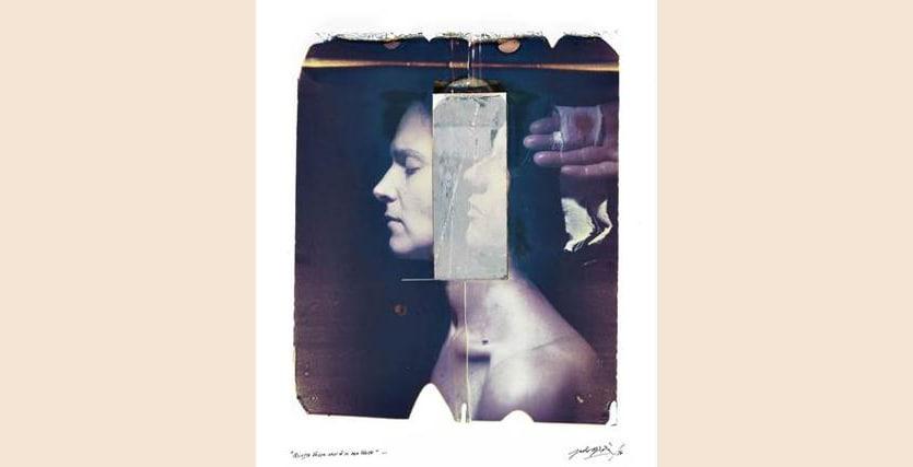 Paolo Gioli. Questo volto non è il mio volto dalla serie Vessazioni (2010). Polaroid 50x60 + trasferimento su acrilico, camera ottica