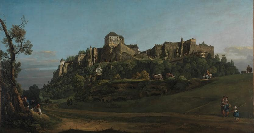 Bernardo Bellotto, The Fortress of Königstein from the North, circa 1756-58, olio su tela, 132,1 x 236,2 cm, © The National Gallery, London