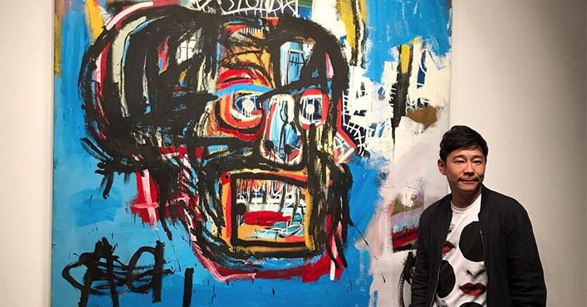 Il post su Instagram con cui Yusaku Maezawa ha annunciato di aver acquistato l'opera record di Basquiat, Courtesy Instagram