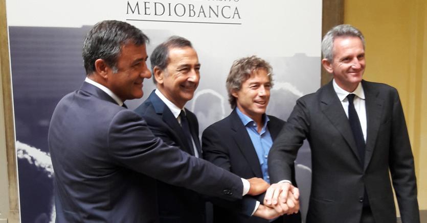 Da sinistra, Sergio Vicinanza, Giuseppe Sala, Diego Dominguez e Alberto Nagel