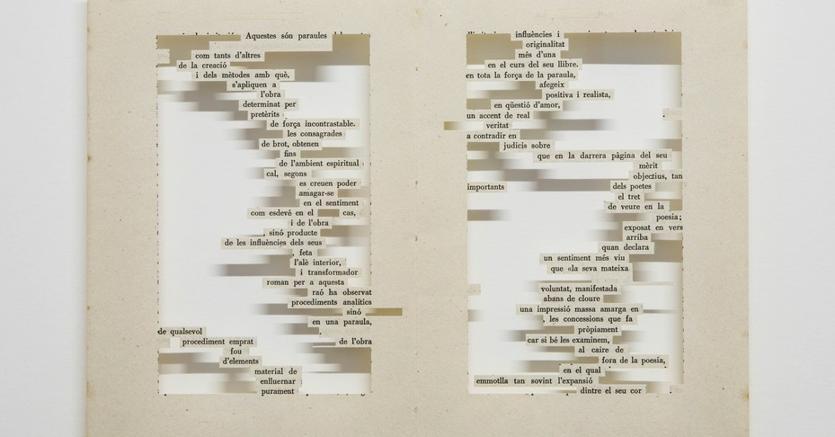 Mar Arza, Canto d'amor...... 2015 - pagine di libro tagliate; 50x40 cm, 3.000 euro da RocioSantaCruz Barcellona