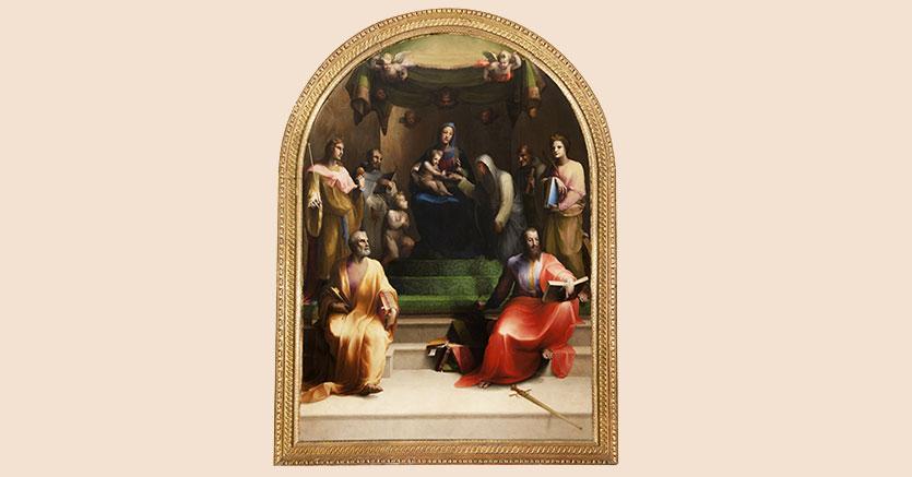Domenico Beccafumi, Sposalizio Mistico di Santa Caterina -  Dipinto Olio su tela - XVI secolo - cm 310 x 230 (Palazzo Chigi Saracini - Collezione: Ritorno alla luce)