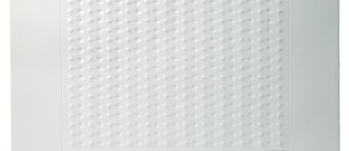 1572; Enrico Castellani; Senza titolo (Superficie blu), 1967; Acrilico su carta a rilievo, 68.8 x 51.7 cm; Courtesy Collezione Ramo; Photo: Paolo Vandrasch; © Fondazione Enrico Castellani